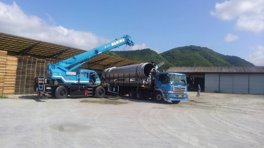 カサネン工業-落合工場新設工事風景(大型乾燥ドライー搬入)