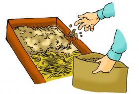 カサネン工業くみあい水稲用育苗培土キングソイル(使い方-覆土)