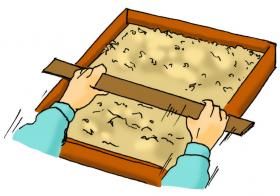 カサネン工業くみあい水稲用育苗培土キングソイル(使い方-専用ならし板でならす)